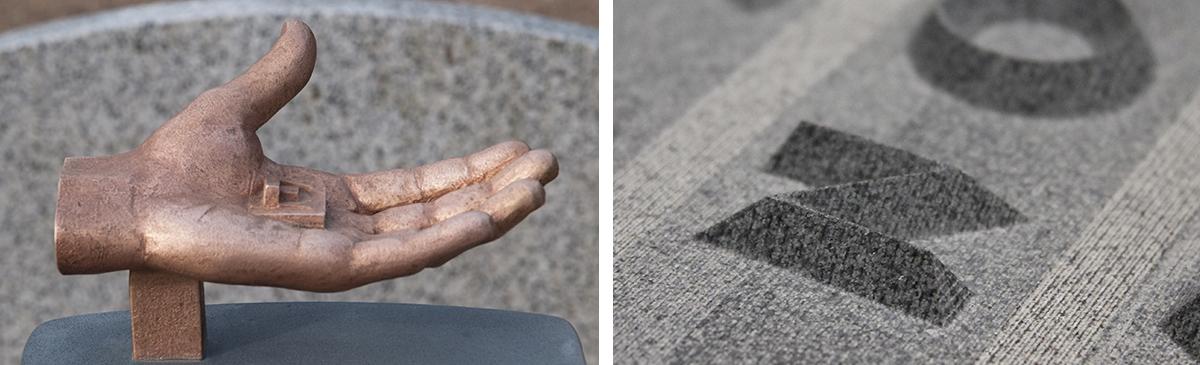 Bronzen hand en 3D gefreesde letters